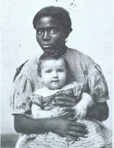 Hayward familys slave Louisa holds master's baby (1858). Source Missouri History Museum, St. Louis