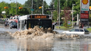 Bus in Calgary, Alberta, floods
