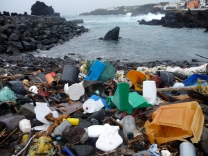 Plastic debris that has washed up along the shore of the Azores. Photo courtesy of 5 Gyres.