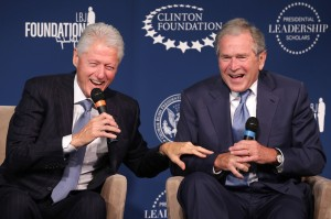 President Clinton And President George W. Bush Photo by Chip Somodevilla/Getty Images