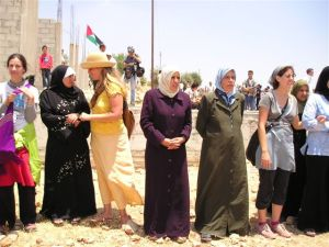 Israeli and Palestinian Women Protest the Seperation Wall at Bilin Image Courtesy of Gush Shalom