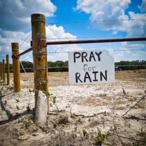 Handwritten sign on farm fence during Texas drought.