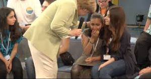 Angela Merkel makes a 14-year old Palestinian girl cry by telling her she is not welcome in Germany Source Mondoweiss