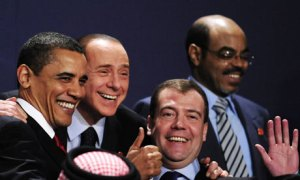 Barack Obama, Silvio Berlusconi and Dimitry Medvedev share a good laugh at the G20 Summit. Photograph by Dominique Faget AFP Getty. Images