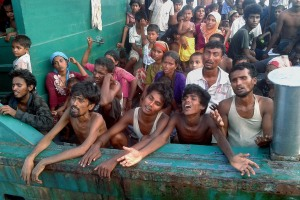Rohingya refugees stranded on a boat off Thailand Photo Source IB Times