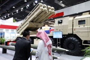 A multiple rocket launch system was on display at the Norinco Group pavilion at an international defense exhibition in Abu Dhabi in February. Photo Bloomberg News