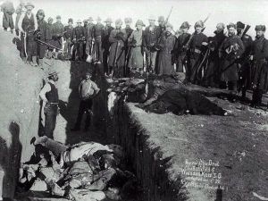 Mass grave of Lakota following the Massacre at Wounded Knee. The Dead Indian Act justified scores of massacres like this, in a state sanctioned genocide of the indigenous people of North America.