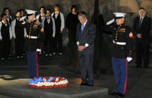 President George W. Bush visiting the Yad Vashem Holocaust Memorial in Israel. Getty Images.