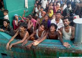 Rohingya refugees stranded on the Andaman Sea. Photo, Christophe Archambault, Getty Images.