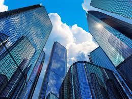 Stock photo of corporate monoliths.