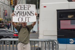 An anti-refugee protester in New York City in September. Albin Lohr-Jones, Pacific Press, LightRocket via Getty Images.