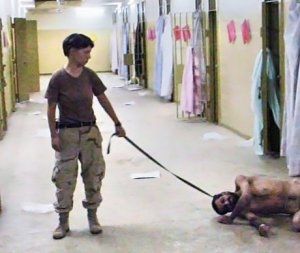 US soldiers torture prisoners at the notorious Abu Ghraib prison in Iraq. Source, Associated Press.
