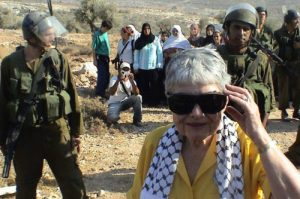Hedy Epstein in Bilin, Occupied West Bank, Palestine.  Photo source, Middle East Monitor.