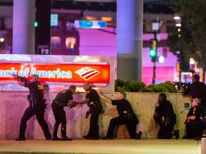 Police fire at sniper which killed 5 officers at a Black Lives Matter rally in Dallas. Source Zerohedge.